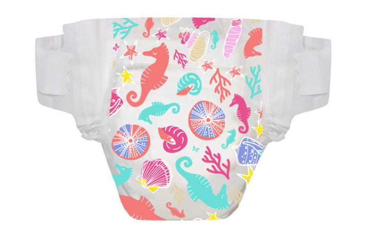 Girl diaper w: ocean theme