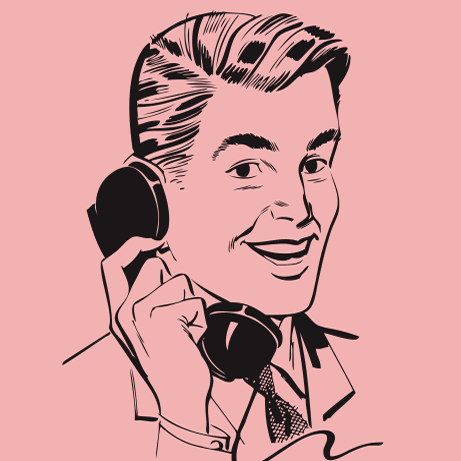 Retro vector - man on phone